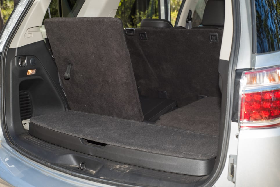 Boot space in the Trailblazer with the extra seats up.