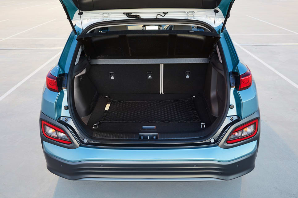 The Kona Electric's 332 litre cargo capacity is 39 litres less than the boot space of a petrol Kona.
