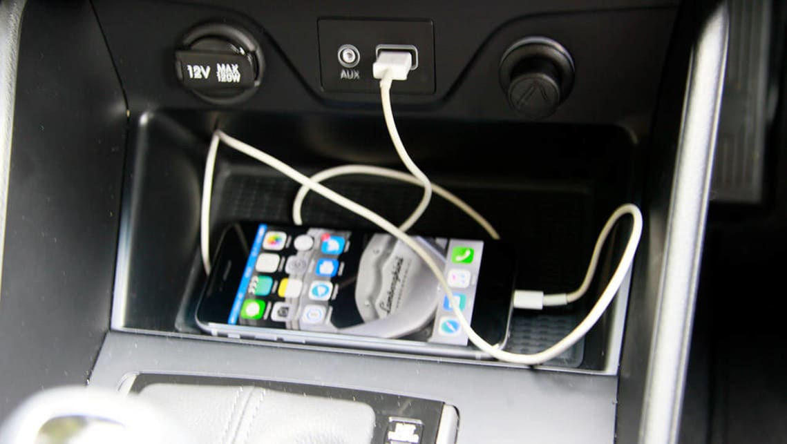 We're fans of the Tucson's Apple CarPlay, connected through the USB port.