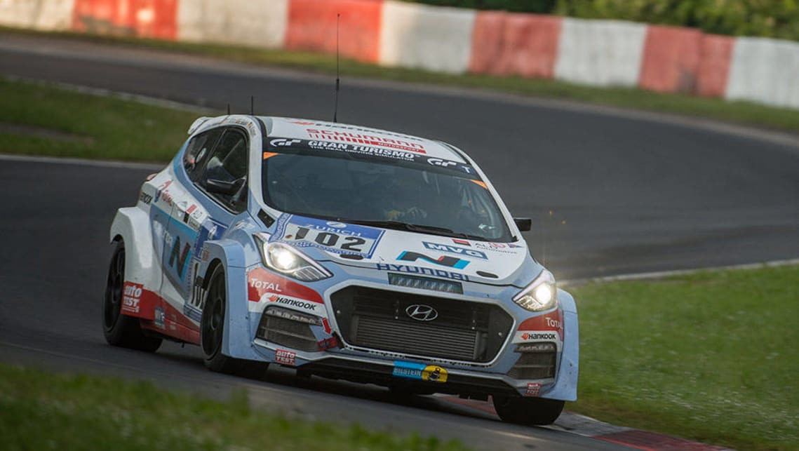 The Hyundai i30 N prototype competed in the Nurburgring 24 Hour race.
