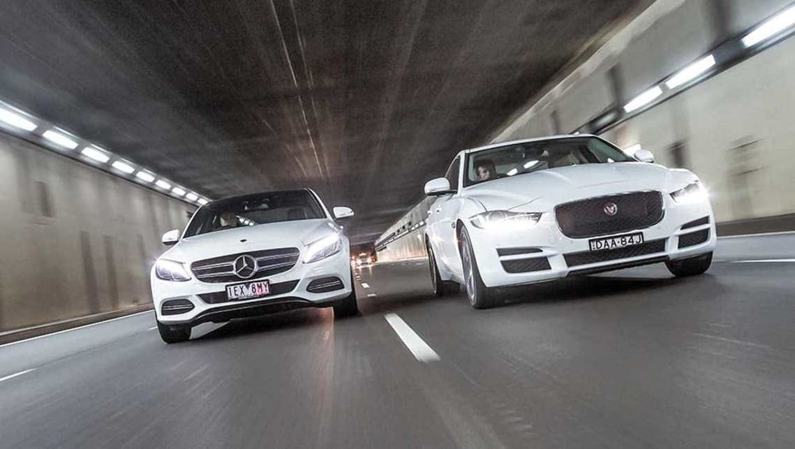 2015 Jaguar XE Prestige and Mercedes-Benz C200