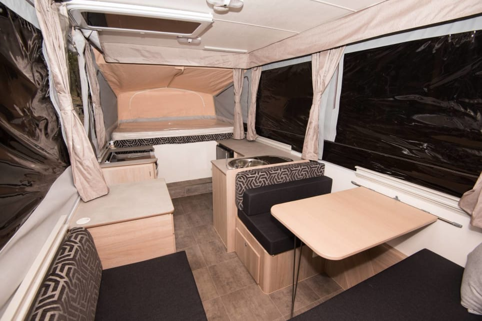 The Hawk Outback's interior – open and functional – when looking towards the front of the camper. (image credit: Brendan Batty)