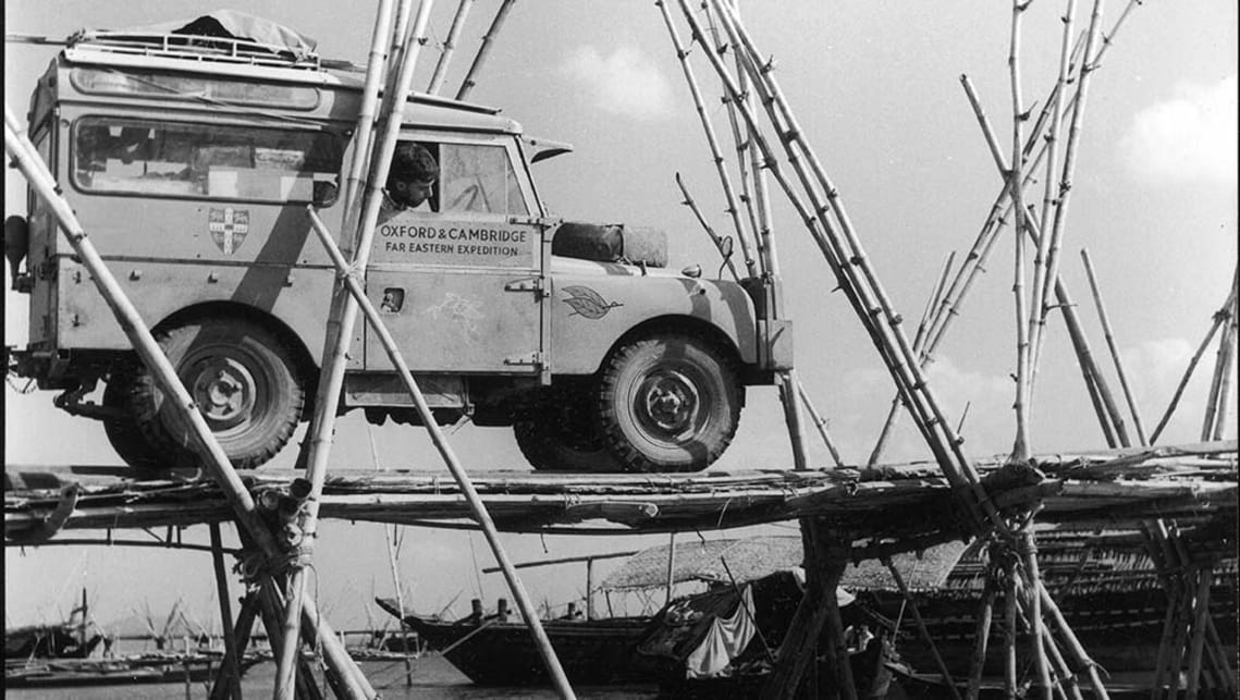 Historic photo of a Land Rover Defender. 1955 Oxford & Cambridge Expedition First Overland - Brahmaputra Jetty.