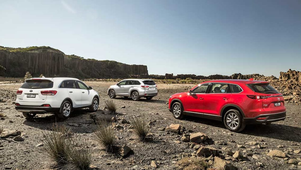 2016 Mazda CX-9 Touring AWD, Toyota Kluger GXL AWD and Kia Sorento Platinum AWD. Picture credit: Thomas Wielecki.