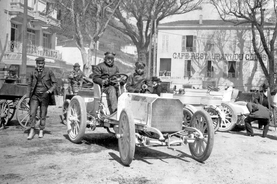 The Mercedes 35 HP racing car in La Turbie after winning the Nice-La Turbie hill climb on the 29th March, 1901.