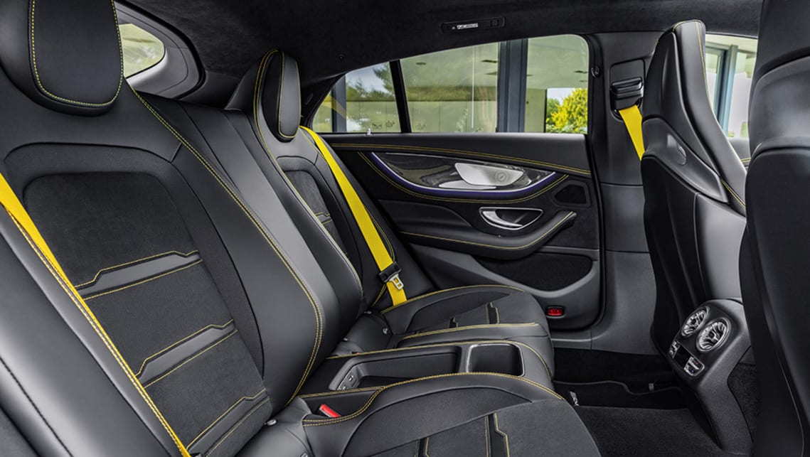 Inside the GT 4-door Coupe there are some elements we've come to expect from the Benz group, including a broad, bold pair of 12.3-inch screens and lashings of leather and carbon-fibre.