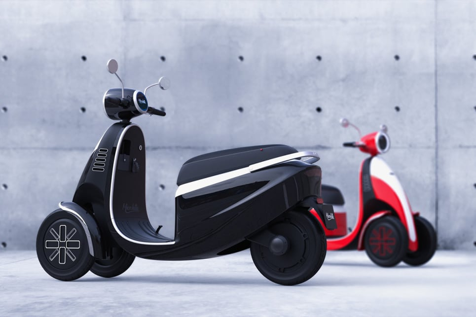 The new trike - which looks like a grown-up's version of a Microlino kids' scooter - can do up to 80km/h.