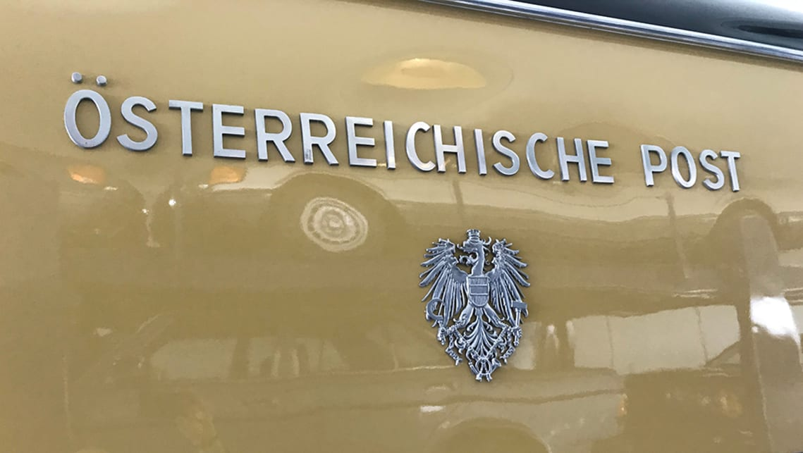 Featuring exquisite detailing like this low-relief chrome lettering with the Austrian coat of arms.