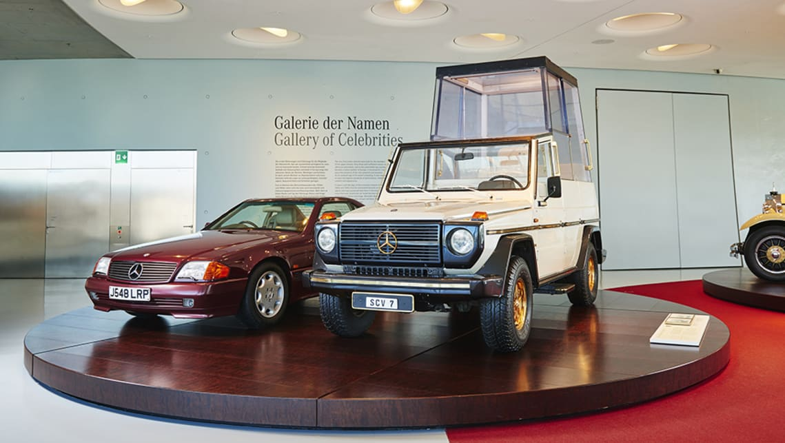 G Series Popemobile and Princess Diana's 500SL.