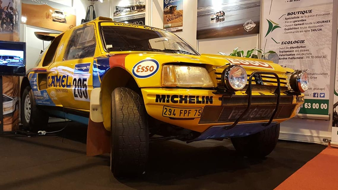 Dakar-spec Peugeot 205 T16 rally car.
