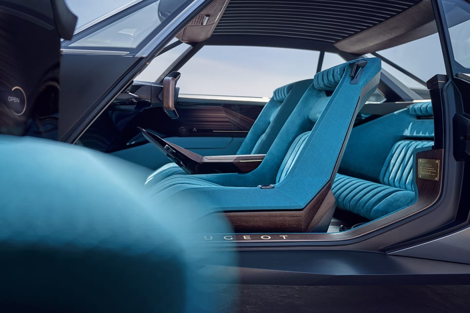 The concept model has simple angular lines and a blue velvet interior.
