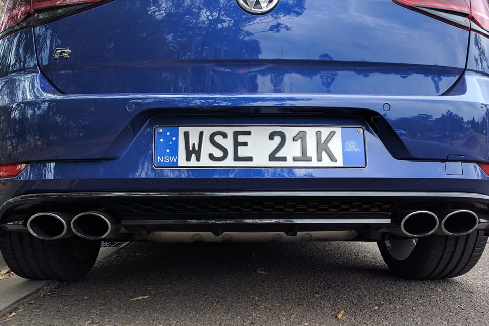 With the Golf R parked nose-first, my first glimpse is of a shapely rump decorated with four exhaust pipes.(image credit: Dan Pugh)