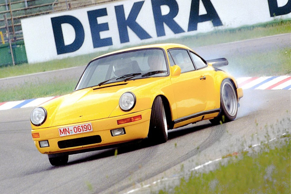 "The twin-turbo Ruf CTR ""YellowBird"" topped out at 213mph/343km/h."