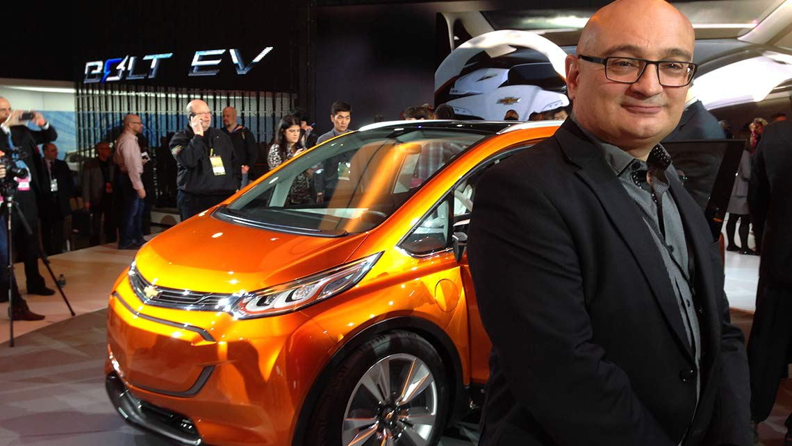 Holden designer Richard Ferlazzo with the Chevrolet Bolt concept car in Detroit.
