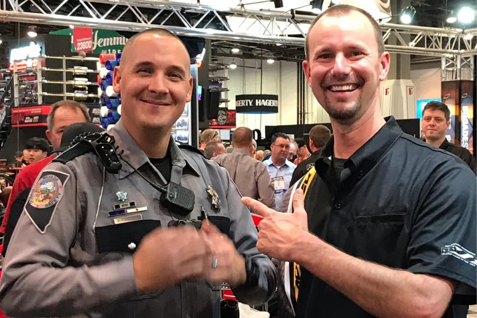 Procharger Erik photographed with the policeman rammed in the chase: trooper Adam Whitmarsh from the Nevada Highway Patrol. (image: Forgeline)