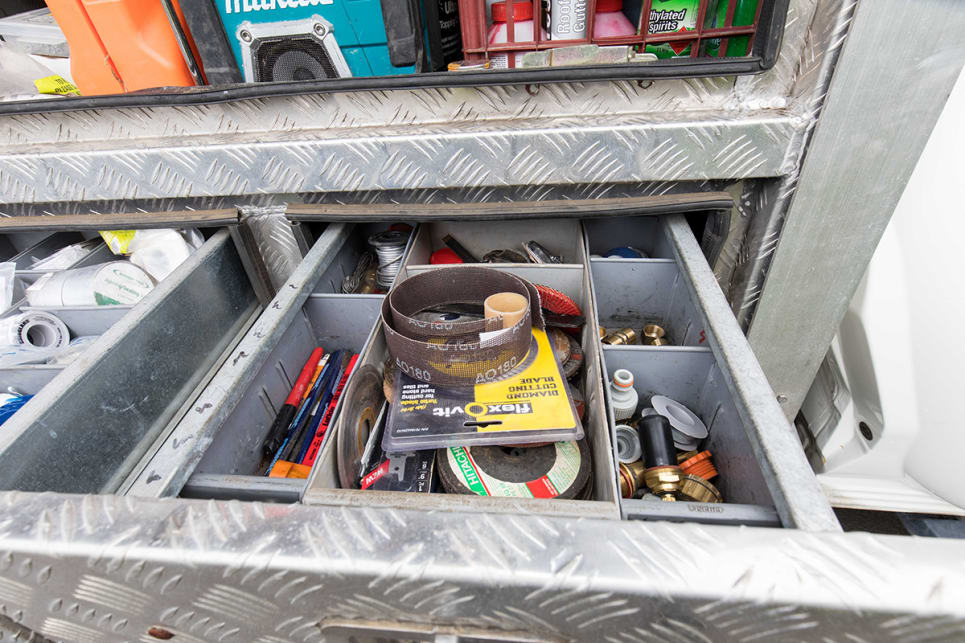 Steve added the custom tool boxes with trundle tray.