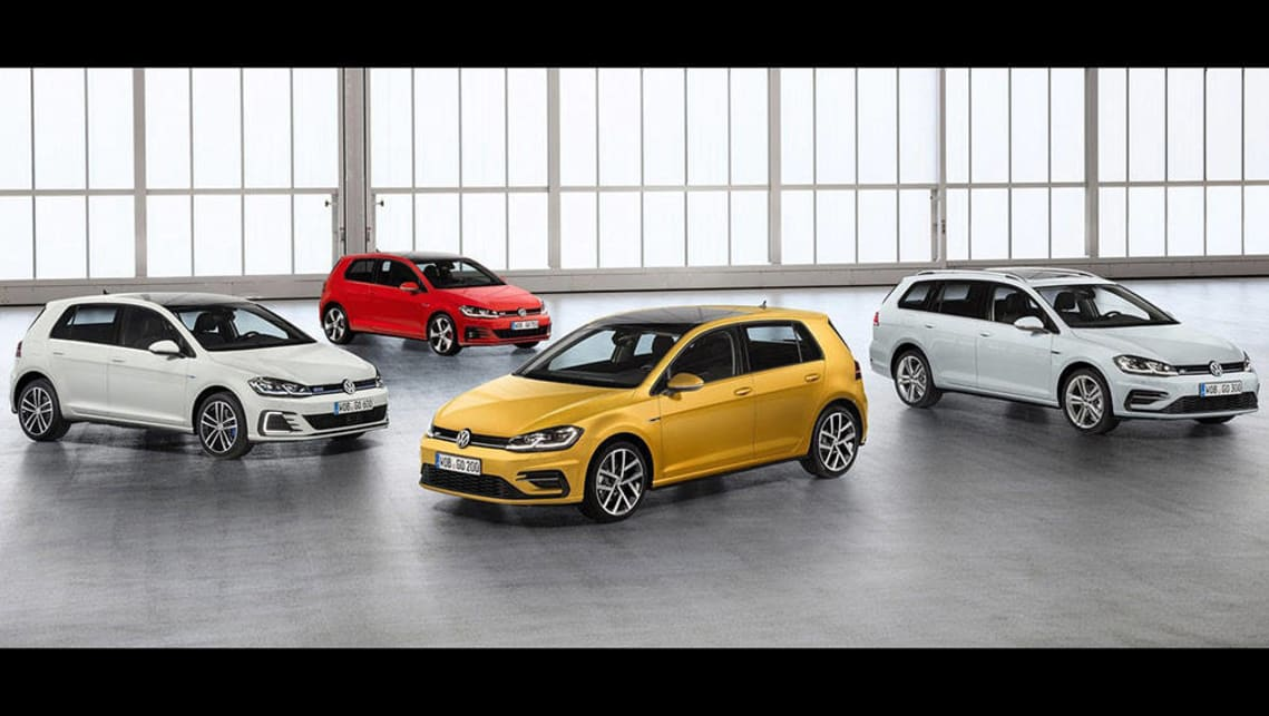 (From left to right) 2017 VW Golf GTE, 2017 VW Golf GTI, 2017 VW Golf, 2017 VW Golf Wagon.