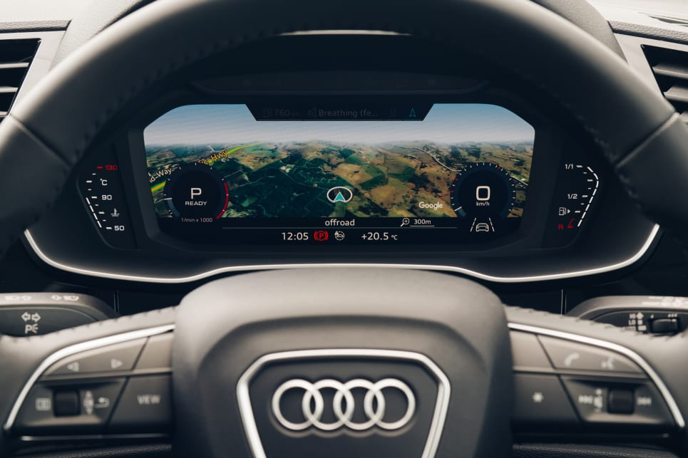 Audi's slick configurable digital dash appears even here in the base car.