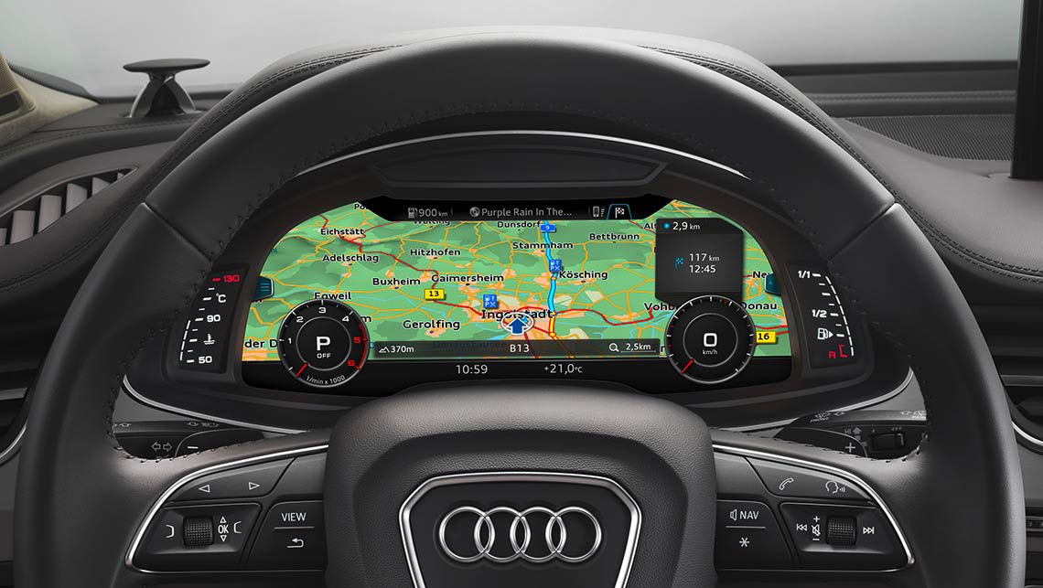 The 'virtual cockpit' of the new Audi Q7 can show car information as well as satnav readouts.