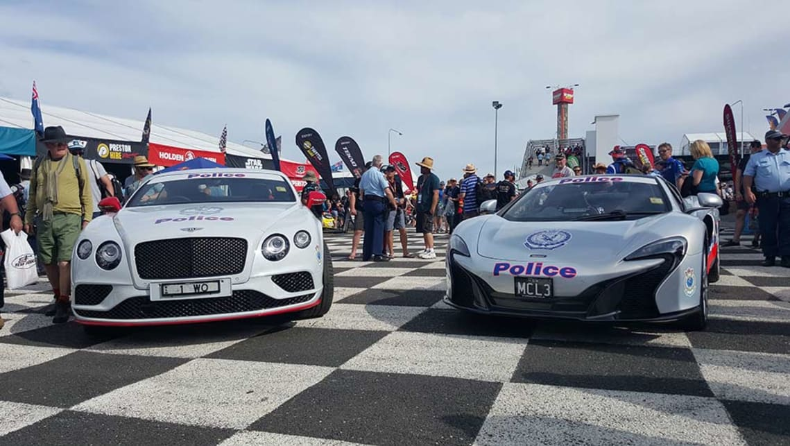 A McLaren 650S Spider and a Bentley Continental GT in official Police livery at the Bathurst 1000.