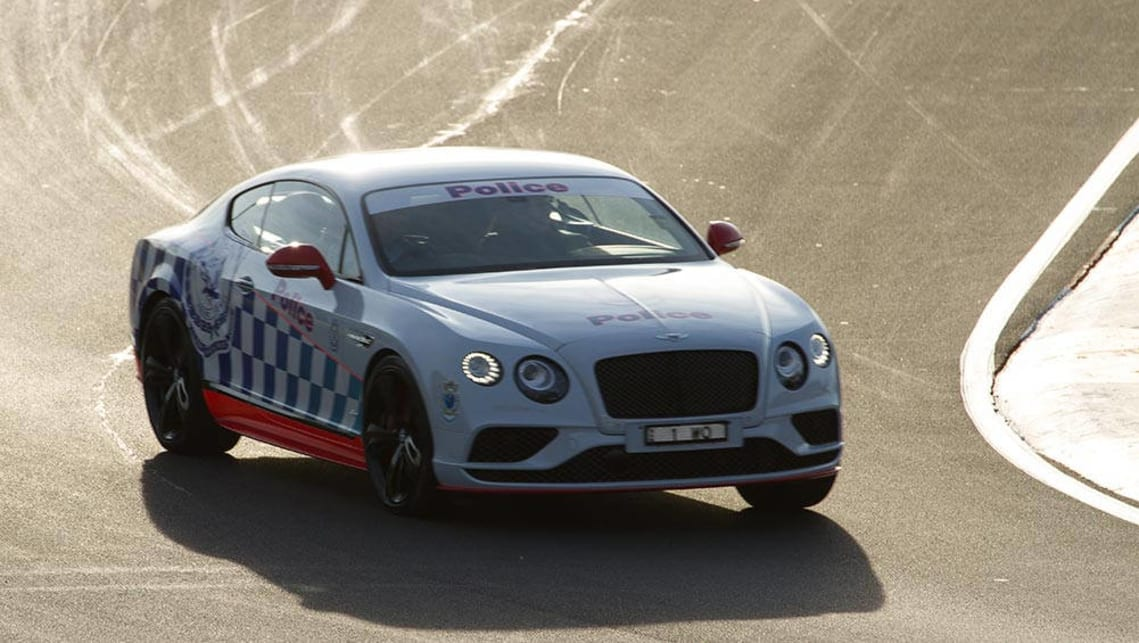 A Bentley Continental in Police livery at the Bathurst 1000. Image credit: Stephen Baldwin