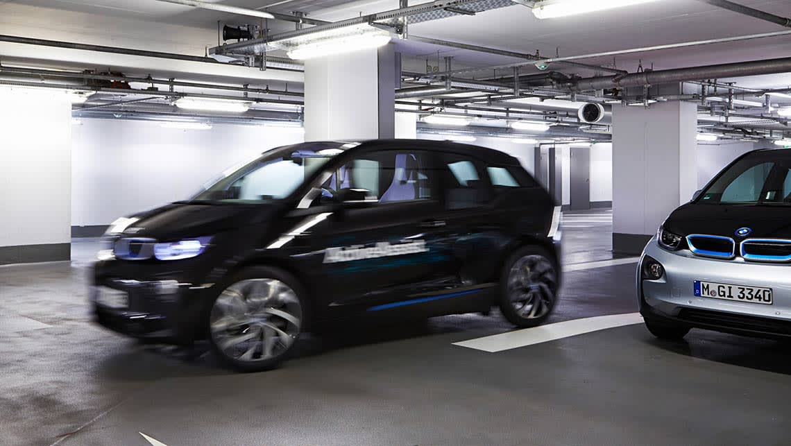 BMW's prototype technology allows a car to park itself autonoumously.
