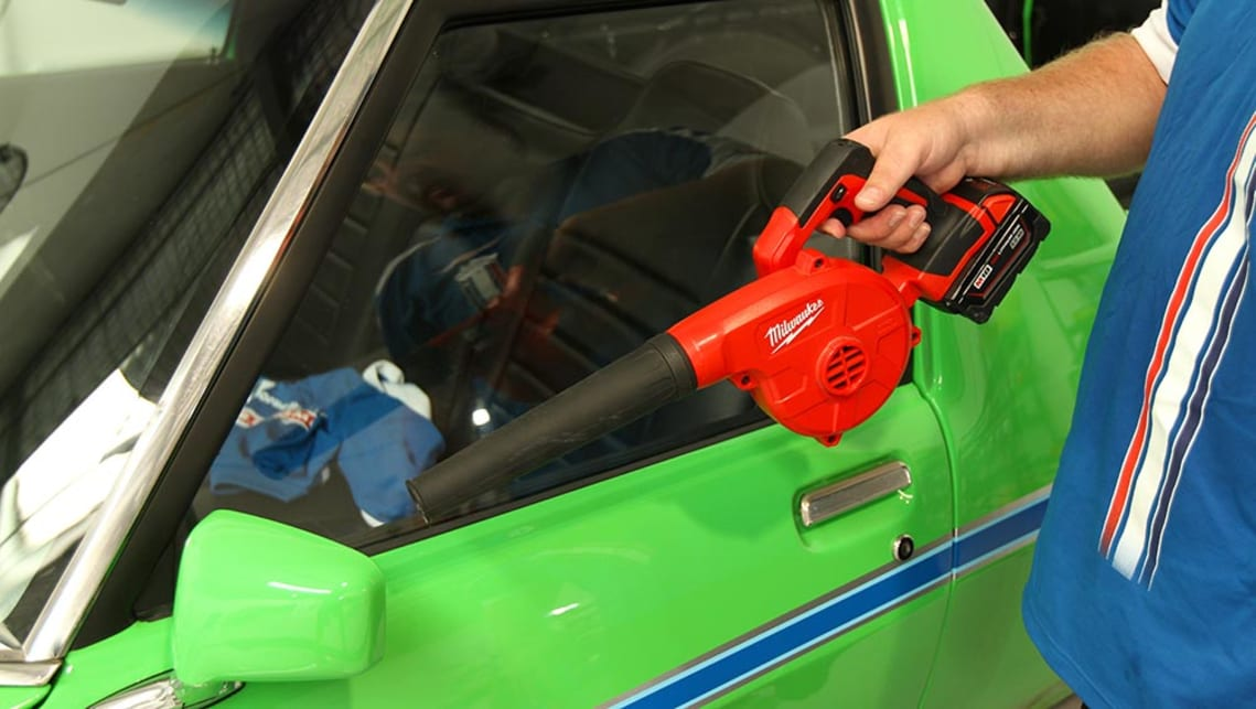 An electric blower can be used to remove any pockets of water in hard to reach nooks and crannies.