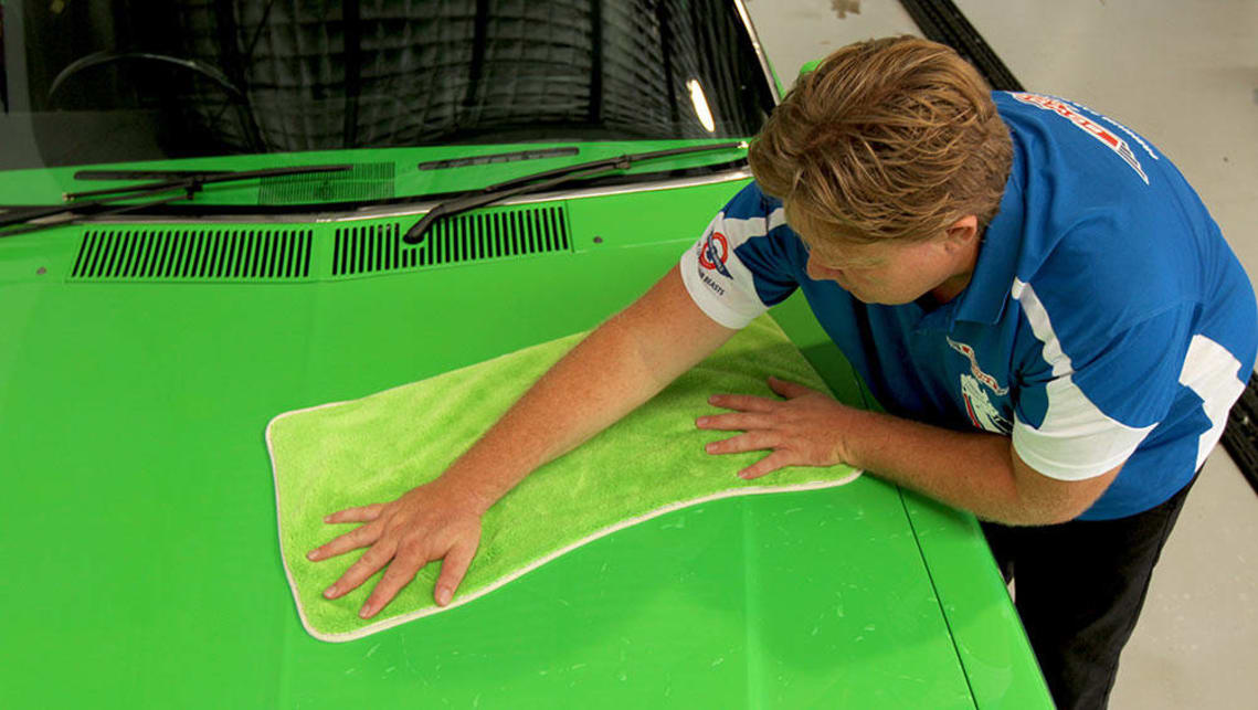 A large, plush microfibre drying towel is safer and faster to use than the traditional chamois.