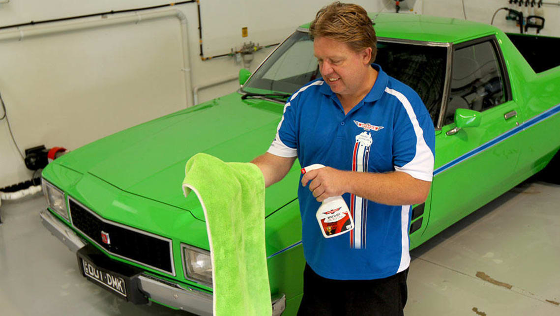 Drying towel with spray detailer as a drying aid.