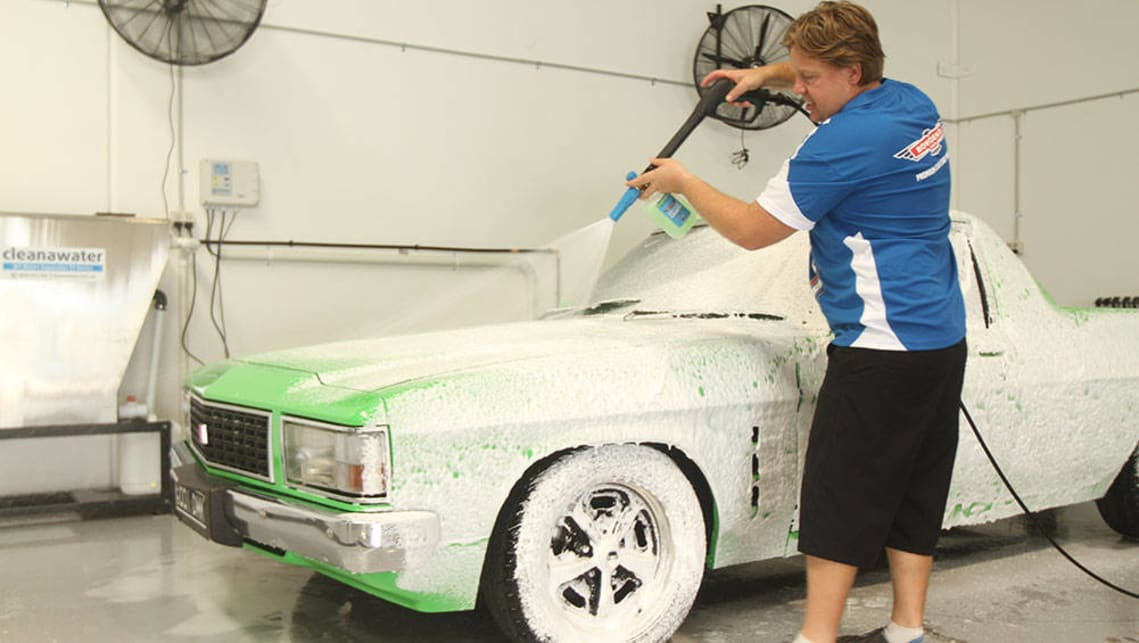Snow foam should be left to sit for three to four minutes to break down any grime that can scratch the paint surface during the wash.