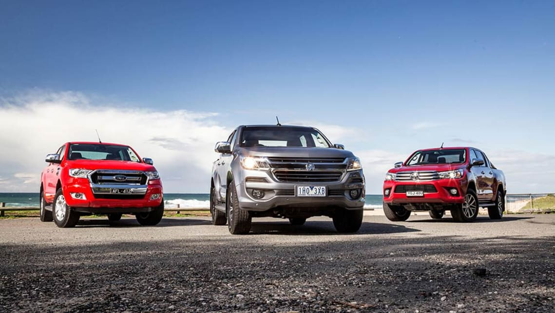 2016 Ford Ranger, Holden Colorado and Toyota HiLux.