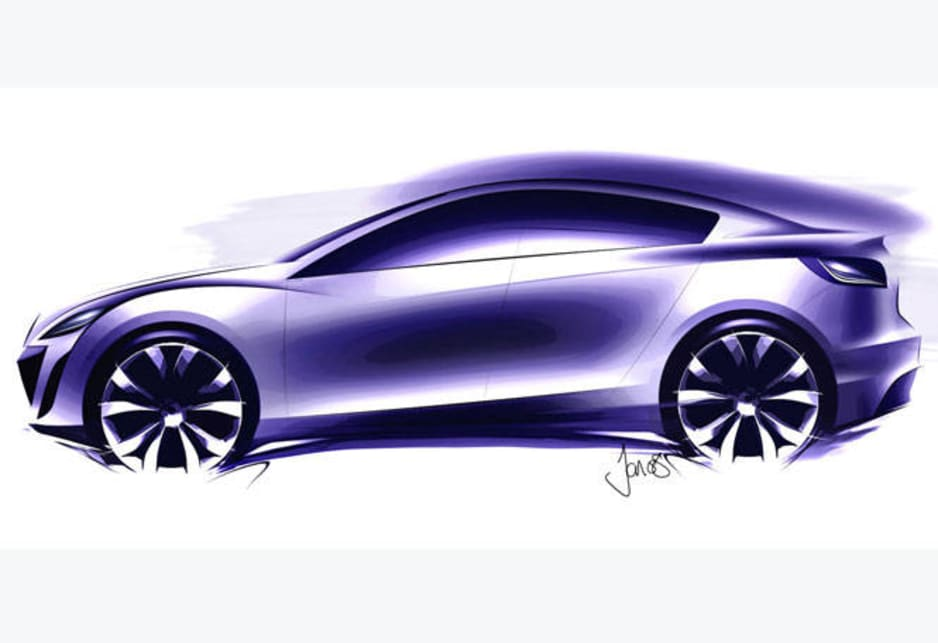 Nagare style as applied to an early Mazda3 sketch