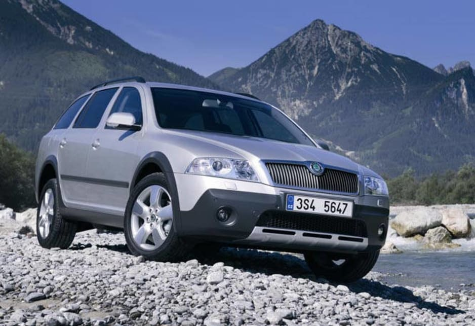 Skoda Octavia Scout 4X4 wideshot at mountain