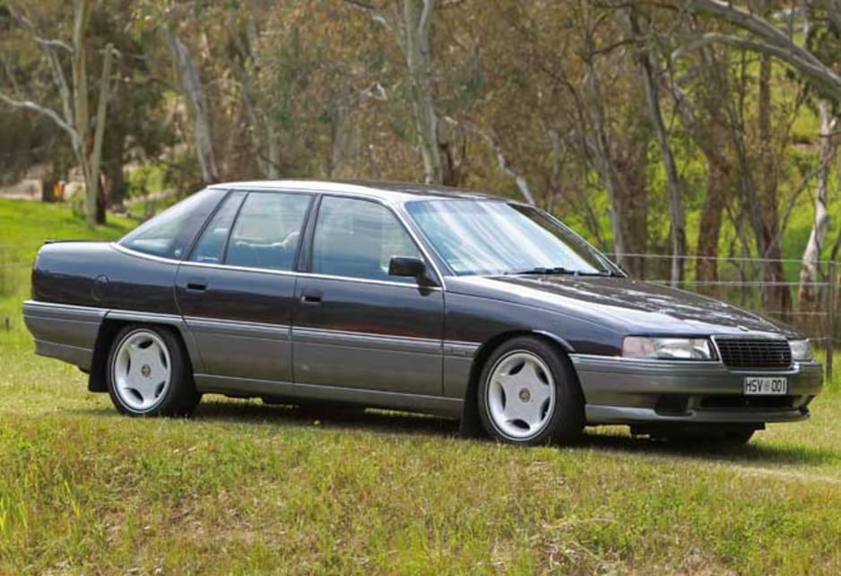 The HSV shares shed space with a VN SS Group A and an HSV Statesman, as well as a HDT VK Brock Commodore SS in silver and an HJ Monaro four-door.