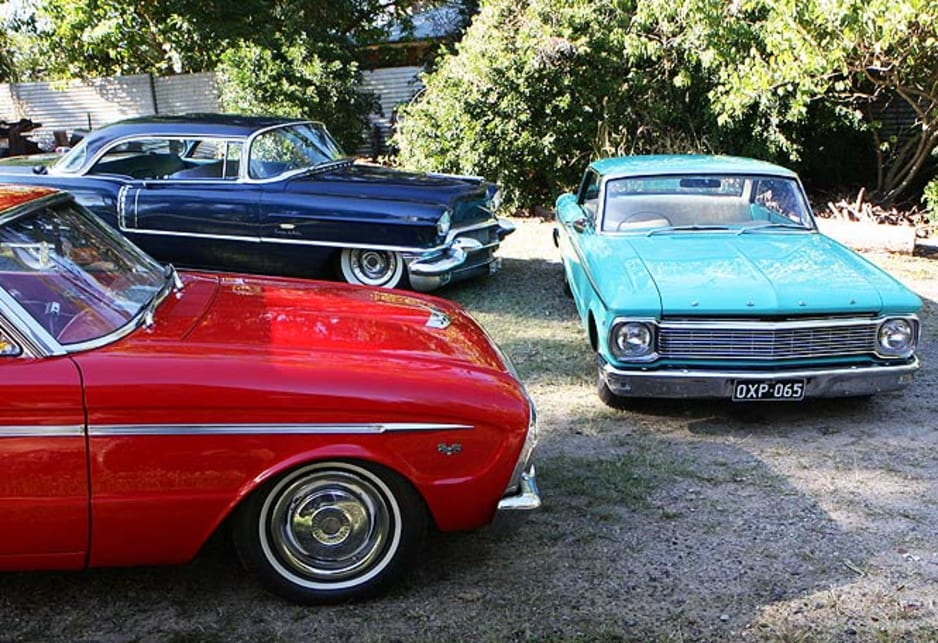 Our collection of Fords and classic Cadillac