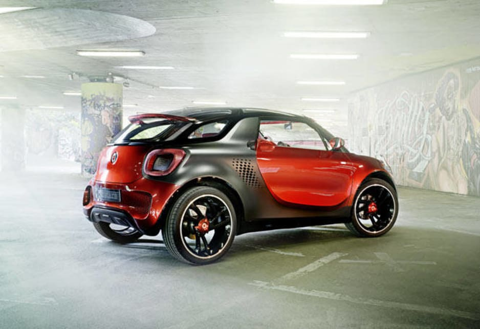 The concept is powered by a 60kW magneto-electric motor fed by a 17.6kWh battery - used overseas in the Smart Fortwo Brabus - which develops 135Nm of torque from kick-off and helps the concept to a top speed of more than 130km/h.