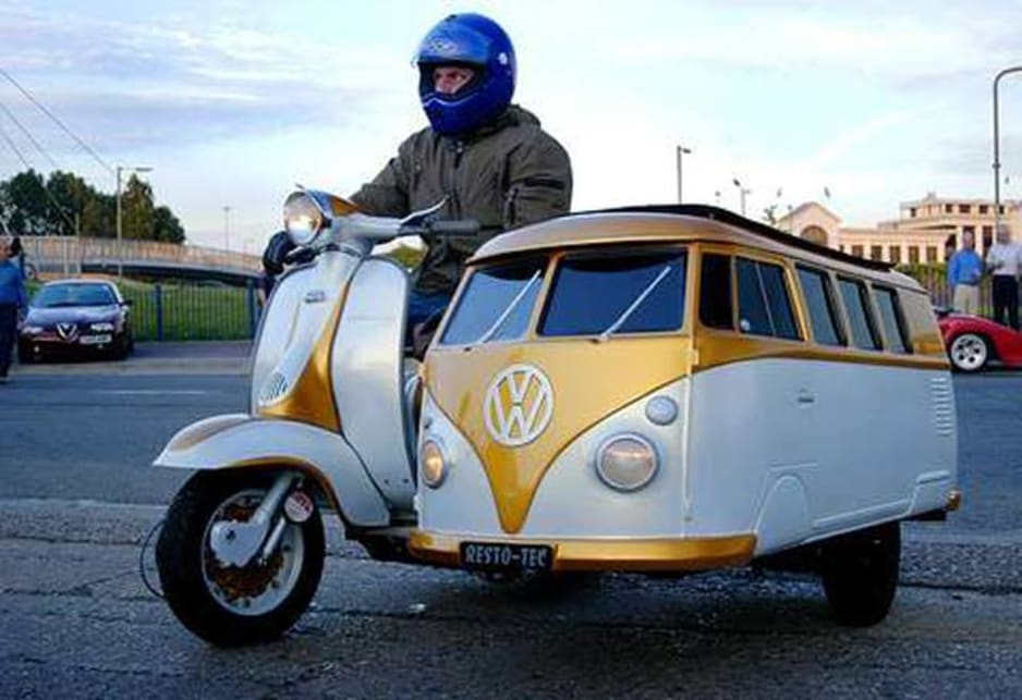 Even in miniature form, you'll want to have a ride in one. Lambretta scooter Volkswagen Kombi sidecar.