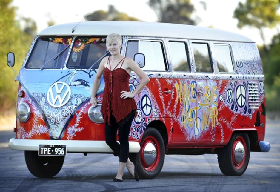People will still paint them up. Amanda Williams with her 1963 Kombi VW Kombi van which was used in the movie Bran Nue Day.