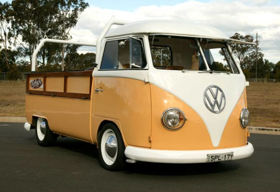 Could any other vehicle look this good with wooden dropsides and a foxtail on the rearview mirror?  Shane Hobson's 1965 Volkswagon Kombi Ute in Ingleburn, NSW.
