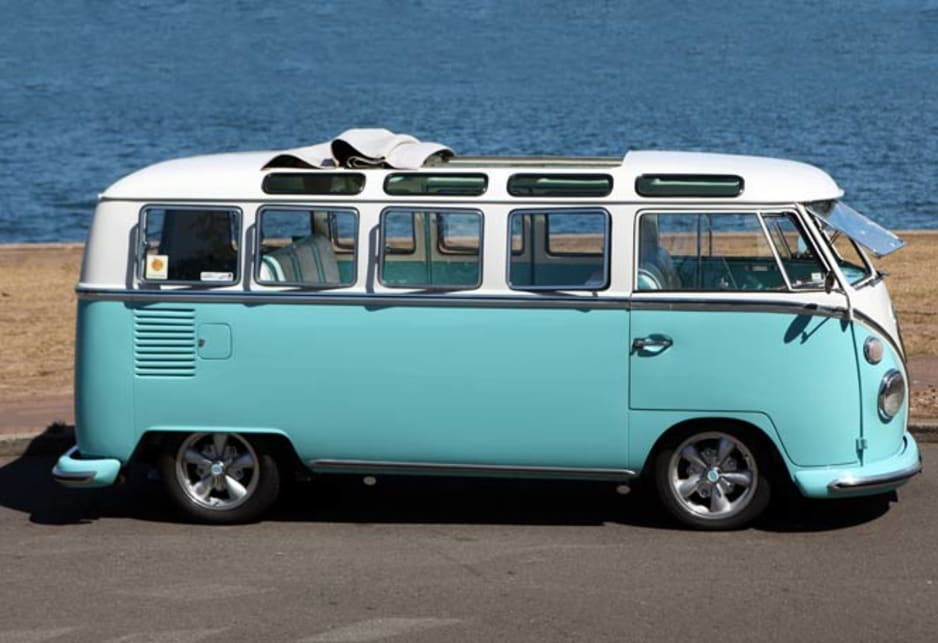 You can still spot the occasional 21-window 'splittie' getting around, like the Burton family's 1964 Volkswagen T2 Kombi Deluxe Microbus photographed in Sydney.