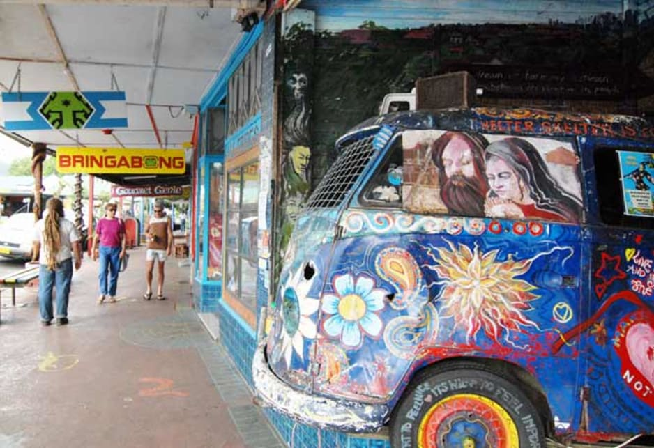 Hippie capital Nimbin wouldn't be convincing without the painted Volkswagen Kombi.