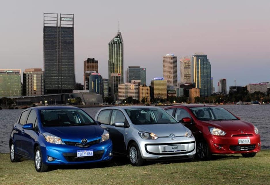 Toyota Yaris, Volkswagen Up and Mitsubishi Mirage.