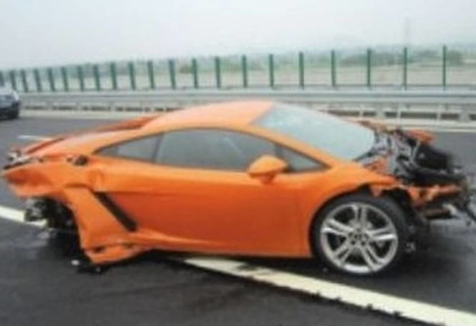 The driver reportedly lost control of the new Lamborghini while driving on wet road with other journalists.
