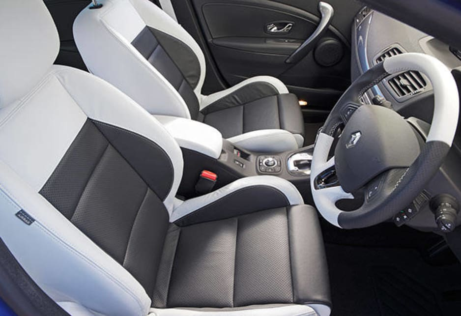 "Beyond the ""Cool Grey"" heated leather seats, the Premium Pack adds a sunroof, reversing camera with overlaid guidelines and driver assistance software. Renault Megane GT Line Premium Wagon pictured."