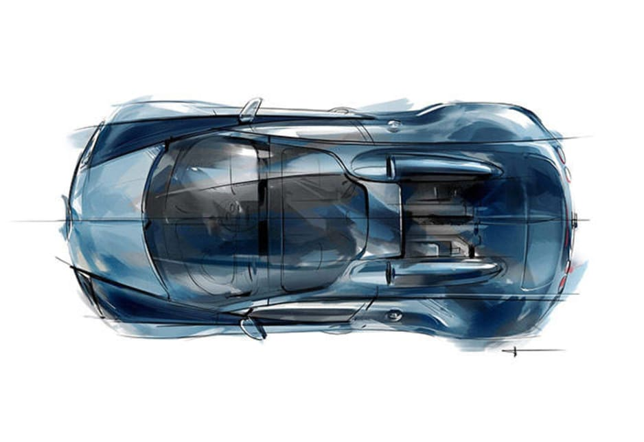 The original car appeared in the racing blue finish that habitually identified French racing cars. Accordingly, the special Veyron now shines in blue clear-coated carbon fiber and a light Wimille Bleu paint color.