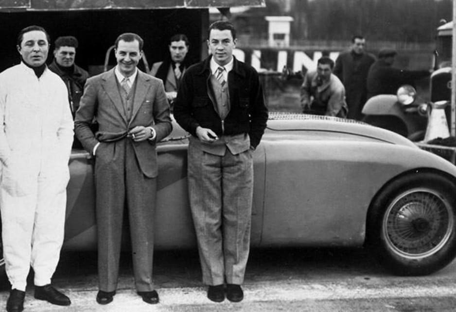 From left to right: Pierre Veyron, Jean Bugatti and Jean-Pierre Wimille.