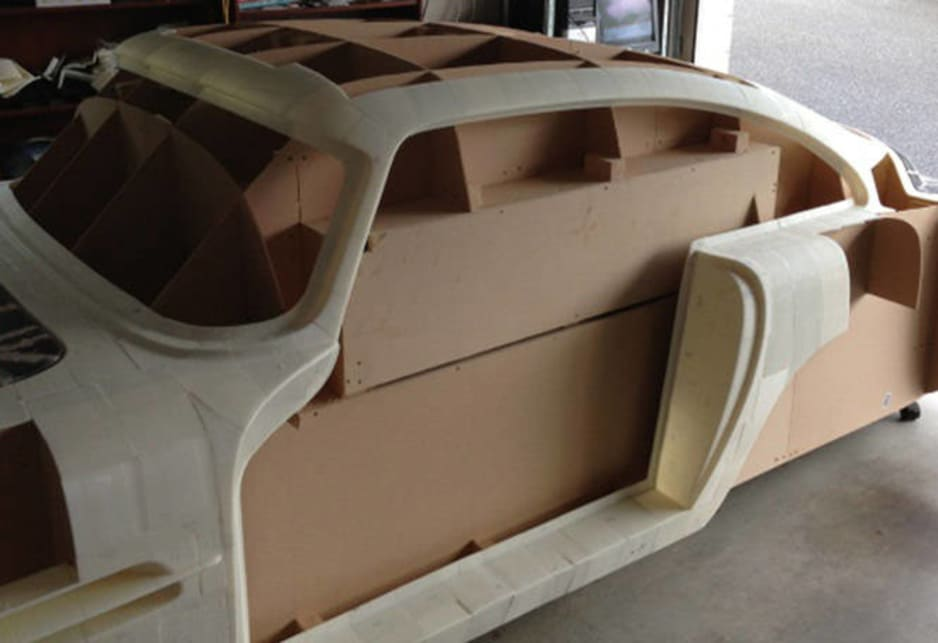 Sentch says he's completed about 72 per cent of the body printing, which will then be used to create a fibreglass mold, and build the final body onto a custom-built spaceframe with power coming from Nissan Skyline GTS innards currently being used in his Ferrari 250 GTO replica.