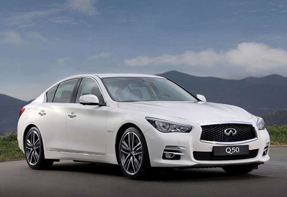 We're not getting the 3.7-litre alloy V6 that leads the Q50's charge in the US - the Australian flagship will be powered by the 225kW/350Nm 3.5-litre V6 petrol-electric hybrid, which uses two dual-clutch set-ups to link the conventional (minus torque-converter) paddleshift-equipped seven-speed auto, the petrol V6 and the electric side of the equation.