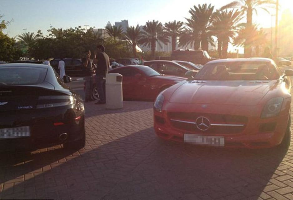 Aston Martin Vantage S and Mercedes-Benz SLS AMG in the carpark of the American University of Dubai. Image credit: Meeka Nasser