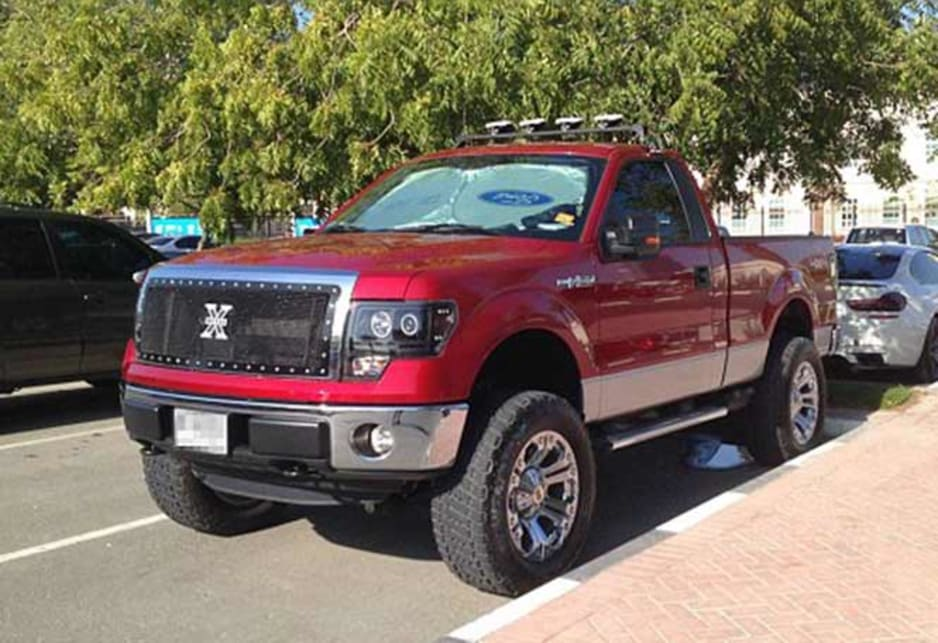 Modified Ford F-150 in the carpark of the American University of Dubai. Image credit: Meeka Nasser